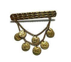 Vintage Roman Coin Brooch Steampunk Gold by PopcornVintageByTann
