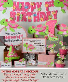Rosa Mädchen Schildkröte erste Geburtstagsfeier oder