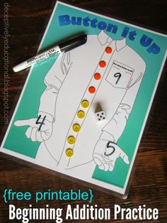 Button it Up (Beginning Addition Practice) - This is such a cute free printable game to help kids practice adding.(Preschool, PreK, Kindergarten, math games)