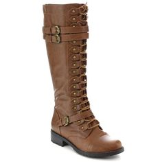 Wild Diva Timberly-65 Women's Fashion Lace Up Buckle Knee High Combat Boots, Color:COGNAC, Size:7.5