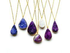 Druzy Necklace  Drusy Crystal Necklace  Gold Framed by DanaCastle, $30.00