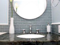Bathroom interior design homes bathtub shower sink tile gay masculine decor Soothing blue-gray glass tile Contemporary Bathrooms from Michael Habachy : Designers' Portfolio 5665 : Home & Garden Television House Design Photos, Modern House Design, Modern Interior Design, Home Design, Interior Architecture, Contemporary Blue Bathrooms, Gray Bathrooms, Bathroom Modern, Chic Bathrooms