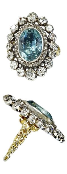 A Georgian aquamarine silver-topped gold, aquamarine and diamond ring. The shank is highly detailed. #Georgian #antique