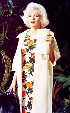 "Marilyn wearing a floral Jean Louis dress in ""Something's Got To Give"" ~ 1962"