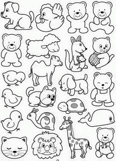 Easy Drawings For Kids, Drawing For Kids, Painting For Kids, Art For Kids, Animal Coloring Pages, Free Coloring Pages, Coloring Books, Animal Drawings, Cute Drawings