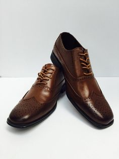 46edb232c60 Men s Brown Dress Shoes Bravo! Milano-1 Square Toe Leather Lining Size 10  New