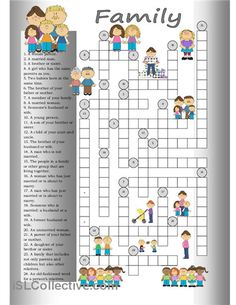 Crossword: Family worksheet - Free ESL printable worksheets made by teachers English Games, English Activities, English Fun, English Words, English Lessons, English Grammar, Teaching English, Learn English, English Language