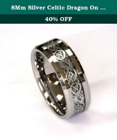 8Mm Silver Celtic Dragon On Black Carbon Fiber Tungsten Carbide Band CJTU267-8. Tungsten Carbide High Polished rings are the newest trends in wedding bands. They are hardest of any known metal. They are high polished to a perfect mirror finish using high tech diamonds polishing and unlike other metals will retain the exact polish for many decades to come. Tungsten is about 20 time harder than 18K gold and 6 time harder than Tool Steel and 5 time harder than Titanium. Corrosion resistance.