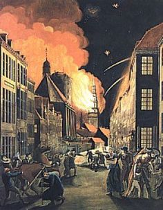 Copenhagen on fire as a result of British bombardment in 1807. Painting by CW Eckersberg.