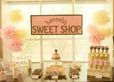 "Vintage Sweet Shop Party. Could also switch this to ""Beauty Shop"" for the bday party next year at the kiddie salon"