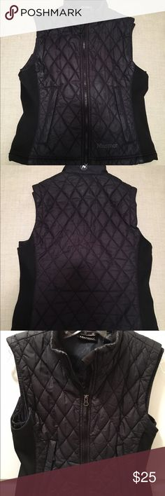 Marmot black vest size small Great condition! Black front zip vest. 100% polyester. Machine washable. Two pockets in the front. Marmot Jackets & Coats Vests