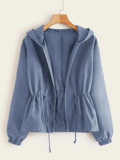 To find out about the Plus Zip Up Drawstring Hooded Coat at SHEIN, part of our latest Plus Size Coats ready to shop online today! Girls Fashion Clothes, Teen Fashion Outfits, Girl Fashion, Casual Outfits, Cute Outfits, Clothes For Women, Fashion Design, Women's Casual, Fast Fashion