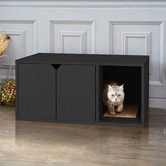 Buy Way Basics Eco Friendly Cat Litter Box - Black Wood Grain Cat Furniture - VOC and Toxin Free - LIFETIME GUARANTEE - Free Ship by Way Basics on Dot & Bo