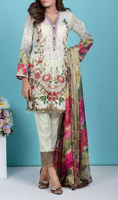 Buy #Cream #Embroidered Cotton Lawn Dress by Baroque 2016 Contact: 702-7513523 Email: info@pakrobe.com Skype: PakRobe
