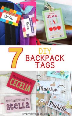 Don't forget to label the backpack for back to school! Be inspired by these 7 DIY backpack tag ideas. Diy Bag Tags, Diy Rucksack, Name Tag For School, Nametags For Kids, Personalized School Supplies, Kids Labels, Preschool Labels, Preschool Ideas, Backpack Tags