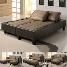 Contemporary Sofa Couch Bed Sleeper Microfiber Convertible Ottoman Sectional Set