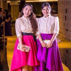 colorful skirt in barong Modern Filipiniana Gown, Filipiniana Wedding Theme, Grad Dresses, Evening Dresses, Bridesmaid Dresses, Barong Tagalog For Women, Filipino Fashion, Power Dressing, Costume