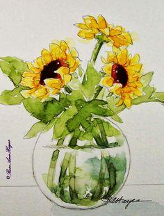 <b>Watercolor</b> Paintings by RoseAnn Hayes: <b>Sunflowers</b> <b>Watercolor</b> Painting