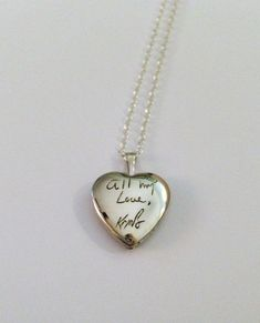 ONLY SALE FOR 2014 Personalized handwriting engraved heart locket in sterling silver (up to 15 letters) Heart Locket, Locket Necklace, Pendant Necklace, Necklaces, Silver Lockets, I Love Jewelry, Personalized Jewelry, Jewelry Accessories, Kate Spade