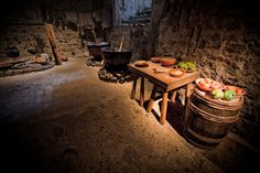 Dover castle kitchen Dover Castle, Palace Interior, Timber Furniture, Medieval Times, Medieval Castle, 12th Century, Palaces, Clutter, A Table