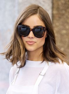 Olivia Culpo's lob with angular cuts