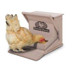 Wood Treadle Chicken Feeder