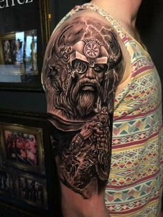 Odin Tattoo by Stefan Limited Availability @ Revelation Tattoo Studios Northampton. Viking Tattoos For Men, Viking Warrior Tattoos, Arm Tattoos For Guys, Celtic Knot Tattoo, Norse Tattoo, Viking Tattoo Sleeve, Sleeve Tattoos, Body Art Tattoos, Badass Tattoos