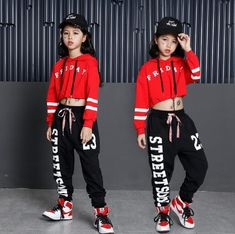 Kids Outfits Jazz Performance Bare-midriff Two-Piece Suits Girls Hip Hop Hoodie + Sport Pants Years Dance Hip Hop, Hip Hop Dance Outfits, Girls Dance Costumes, Girl Outfits, Cute Outfits, Hip Hop Costumes, Jazz Dance, Streetwear Fashion 2018, Streetwear Mode