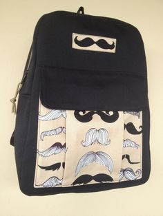 Mustache Fabric Backpack for School or by NormasBagBoutique