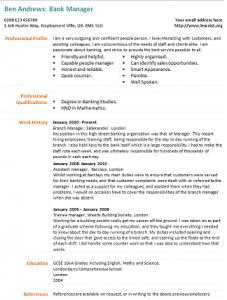 bank manager cv example