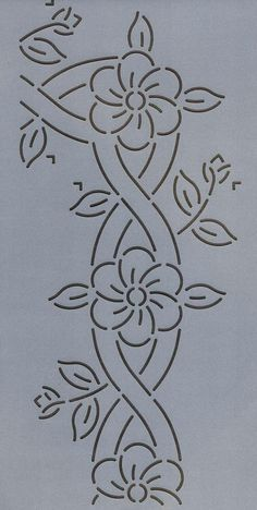 Cable and Flower Border - The Stencil Company, flower Quilting Stencils, Quilting Templates, Machine Quilting Designs, Stencil Patterns, Longarm Quilting, Applique Patterns, Free Motion Quilting, Quilt Patterns, Embroidery Flowers Pattern
