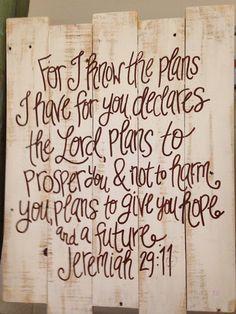 Wood Pallet Art - Bible verse Jeremiah 29:11 on Etsy, $50.00