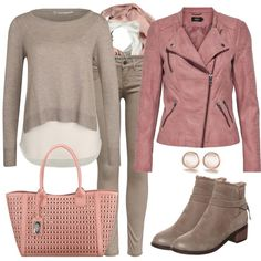 Pastel shades are super beautiful colors for spring. This is also reflected in t. Pastel shades are super beautiful colors for spring. This is also reflected in this outfit which consists of a biker jacket and a beige pu Casual Chic Outfits, Smart Casual Outfit, Modest Winter Outfits, Fall Fashion Outfits, Mom Outfits, Cute Outfits, Beige Outfit, Beige Jeans, Outfits Damen