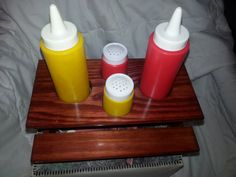 Vintage 5 Piece Picnic Table Set  Ketchup by UnexpectingItems