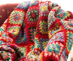 Crochet blanket  red granny square afghan by ChocolateDogStudio, $225.00