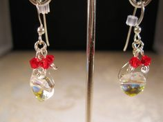 Red and crystal heart earrings by KylesStyles on Etsy
