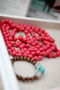 Fab coral beads with a turquoise bracelet