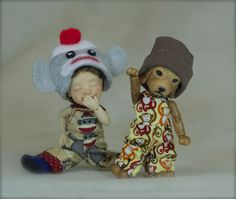 Giggle & Goofball are the dancing duo that fit in the palm of youre hand by Bo Bergemann! http://www.BergemannDolls.com