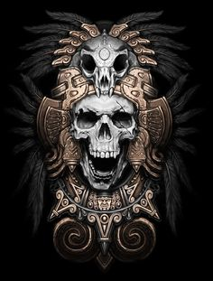 Teskatlipoka by Kamila , via Behance #skull #illustration #dark