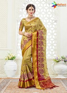 ELEGANT MUSTARD ART SILK PRINTED SAREE