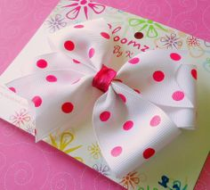 Girls White with Hot Pink Polka Dot Hair Bow by Bloomzies on Etsy, $3.00
