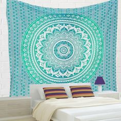 Indian Rangoli Hippie Ethnic Bohemian Psychedelic Green Ombre Mandala Handmade Tapestry - A Perfect Gift for all the age groups and it is perfect for both indoor and outdoor use.