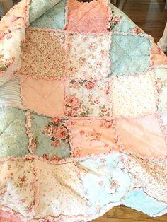 Crib Quilt Rag Quilt Baby Girl Crib Bedding Shabby Chic