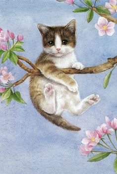 Sue Calendar Cat I found this lovely illustration of this kitty up a tree on an old calendar. I Love Cats, Crazy Cats, Cute Cats, Funny Cats, Image Chat, Gatos Cats, Here Kitty Kitty, Vintage Cat, Cat Drawing