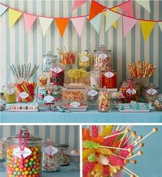 Candy bar for a candyland birthday party - #candy #table #birthday #candyland