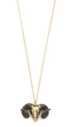 I'm an Aries. I need this fab gold ram skull necklace!  Monserat De Lucca Aries Zodiac Necklace $60.00