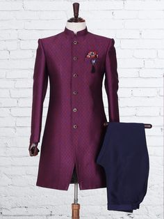 Purple Knitted Wedding Indo Western Wedding Kurta For Men, Wedding Dress Men, Wedding Sherwani, Wedding Men, Wedding Suits, Traditional Fashion, Traditional Dresses, Mens Sherwani, Indian Groom Wear