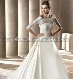Buy Cheap Chic Princess Off-the-shoulder Satin Wedding Dresses SAWD-30169 Wedding Dresses under $209.99 only in OoDress.com.