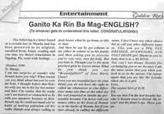 I'm so sorry to my fellowmen who would get offended by this post, but I just find it too funny! Tagalog Quotes Funny, Bisaya Quotes, Crush Quotes, Funny Instagram Pictures, Funny Photos, Free Love Quotes, Filipino Funny, Hugot Quotes, Letter Find
