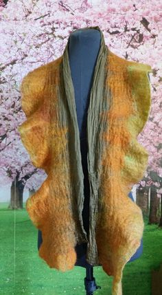 This Nuno Felted Scarf is a work of art. I really enjoyed making this scarf, the whole process was beautiful and fun. The scarf that I used for